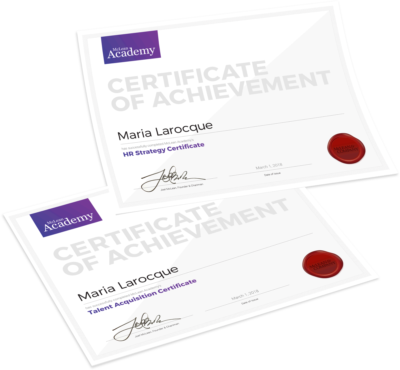 McLean Academy Certificates